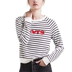 Levi's Striped Embroidered Sweater Spellout L